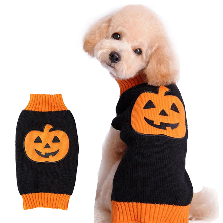 Halloween Dog Pet Sweater, Dog Knitwear Apparel, Halloween Pumpkin Pattern Holiday Party Clothes