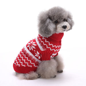 Right side of Snowflake Christmas Dog Sweater Red QBLEEV