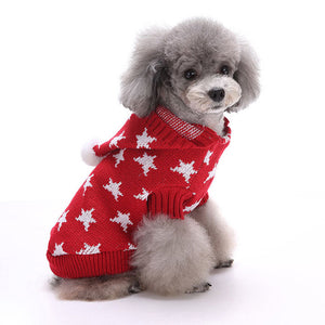 Little Star Christmas Dog Sweater Red QBLEEV