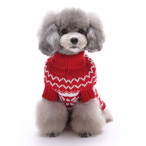 Snowflake Christmas Dog Sweater Red QBLEEV