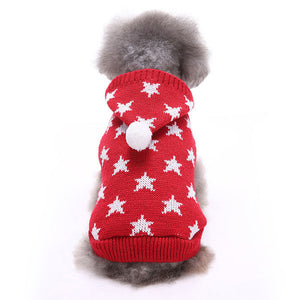 back of Little Star Christmas Dog Sweater Red QBLEEV