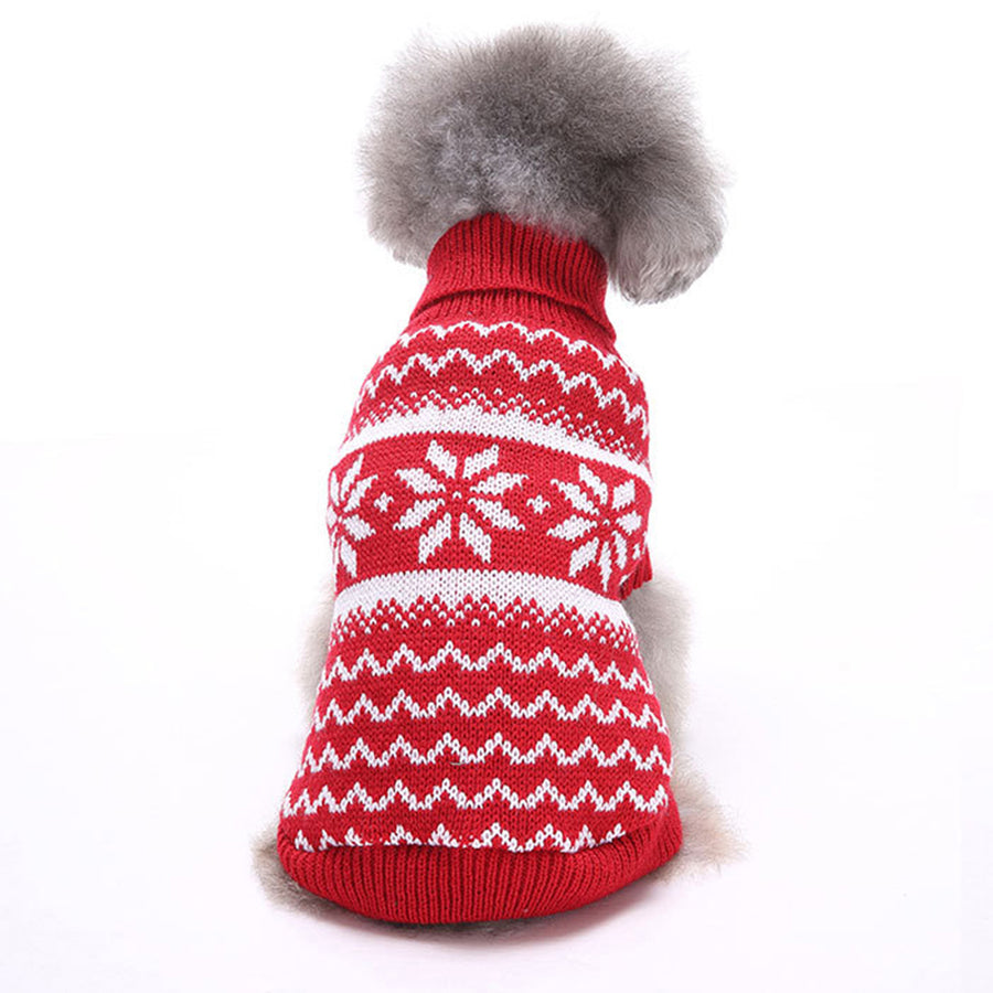 back of Snowflake Christmas Dog Sweater Red QBLEEV