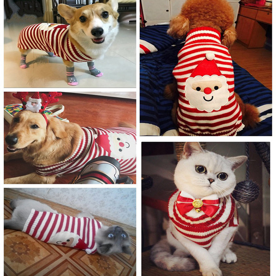 different sides of Santa Christmas Dog Sweater QBLEEV