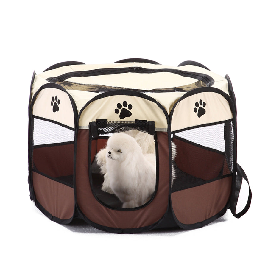shade foldable dog crate Octagon QBLEEV brown with dogs inside