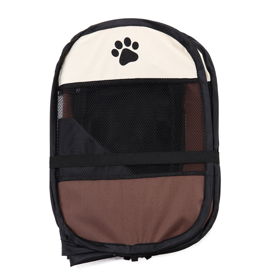 shade foldable dog crate Octagon QBLEEV brown folded