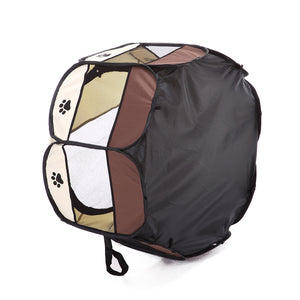 bottom side of shade foldable dog crate Octagon QBLEEV brown