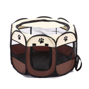 shade foldable dog crate Octagon QBLEEV brown