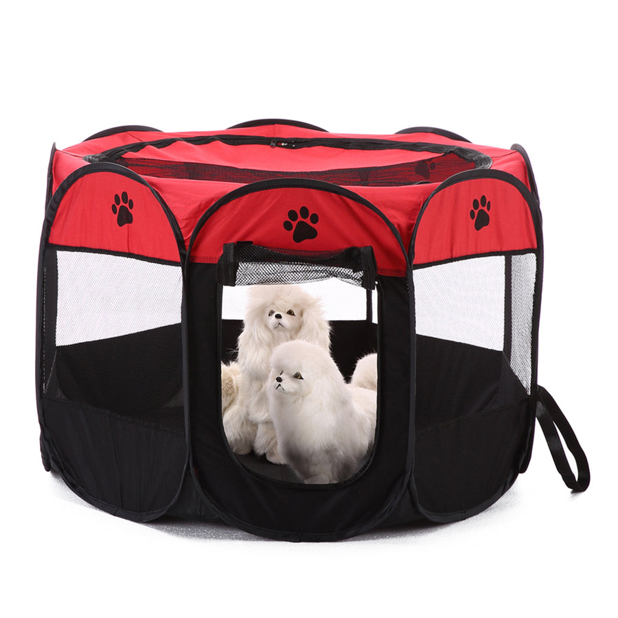 shade foldable dog crate Octagon QBLEEV red with dogs inside