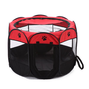 shade foldable dog crate Octagon QBLEEV red