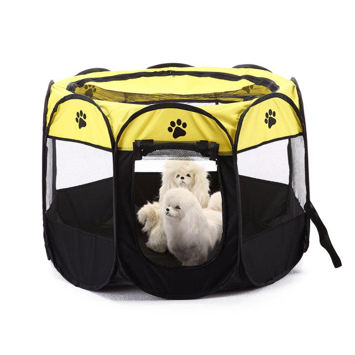 shade foldable dog crate Octagon QBLEEV with dogs inside