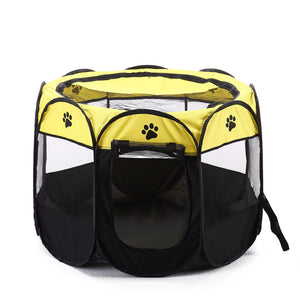 shade foldable dog crate Octagon QBLEEV yellow