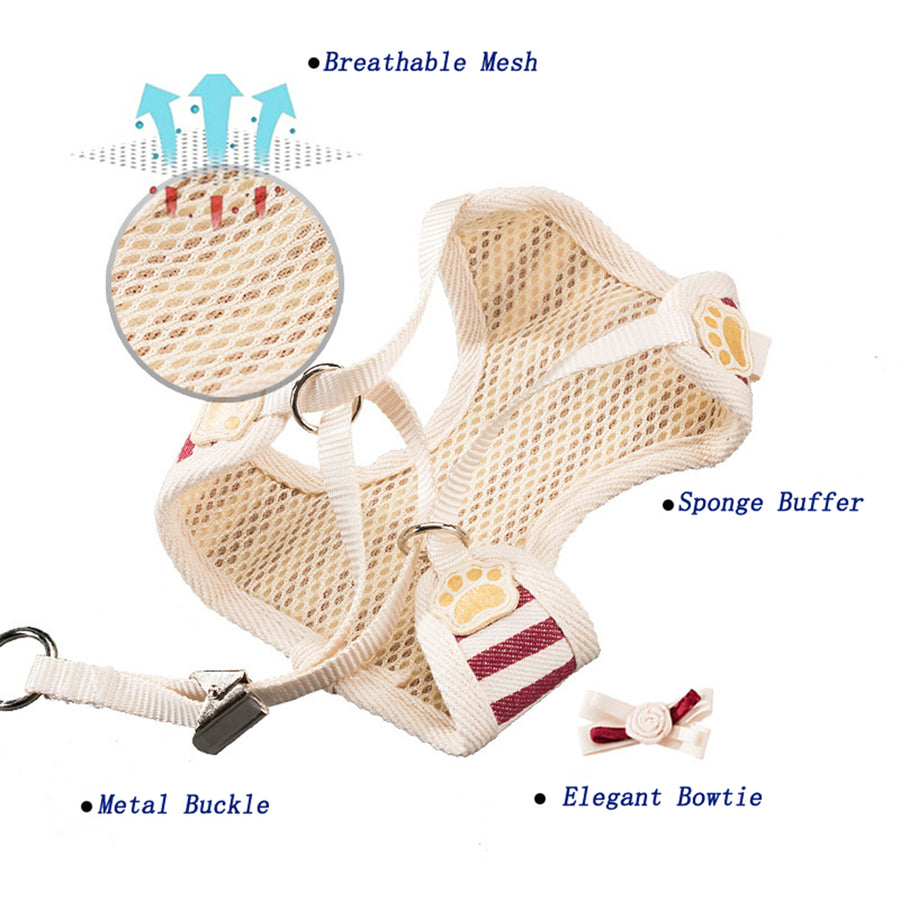 design of Qbleev Soft Mesh Dog Harness With Bowknot And Leash Set