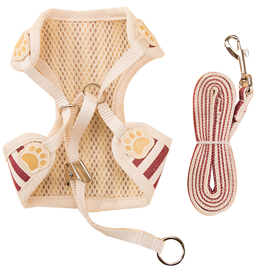 the back of Qbleev Soft Mesh Dog Harness With Bowknot And Leash Set