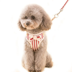 Qbleev Soft Mesh Dog Harness With Bowknot And Leash Set