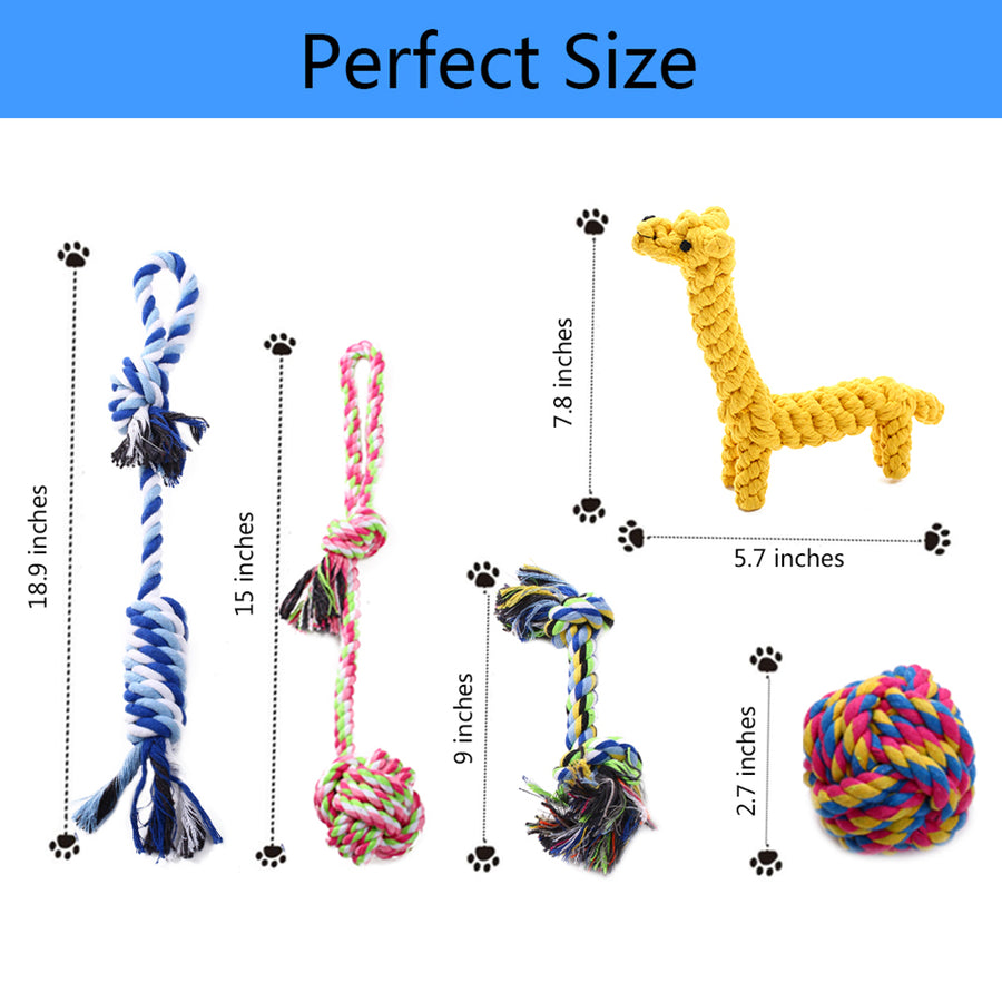 size of dog chew rope toy QBLEEV