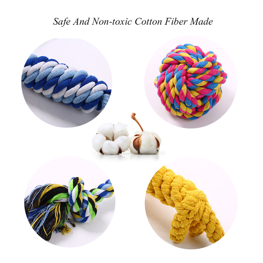 five packs of dog chew rope toys