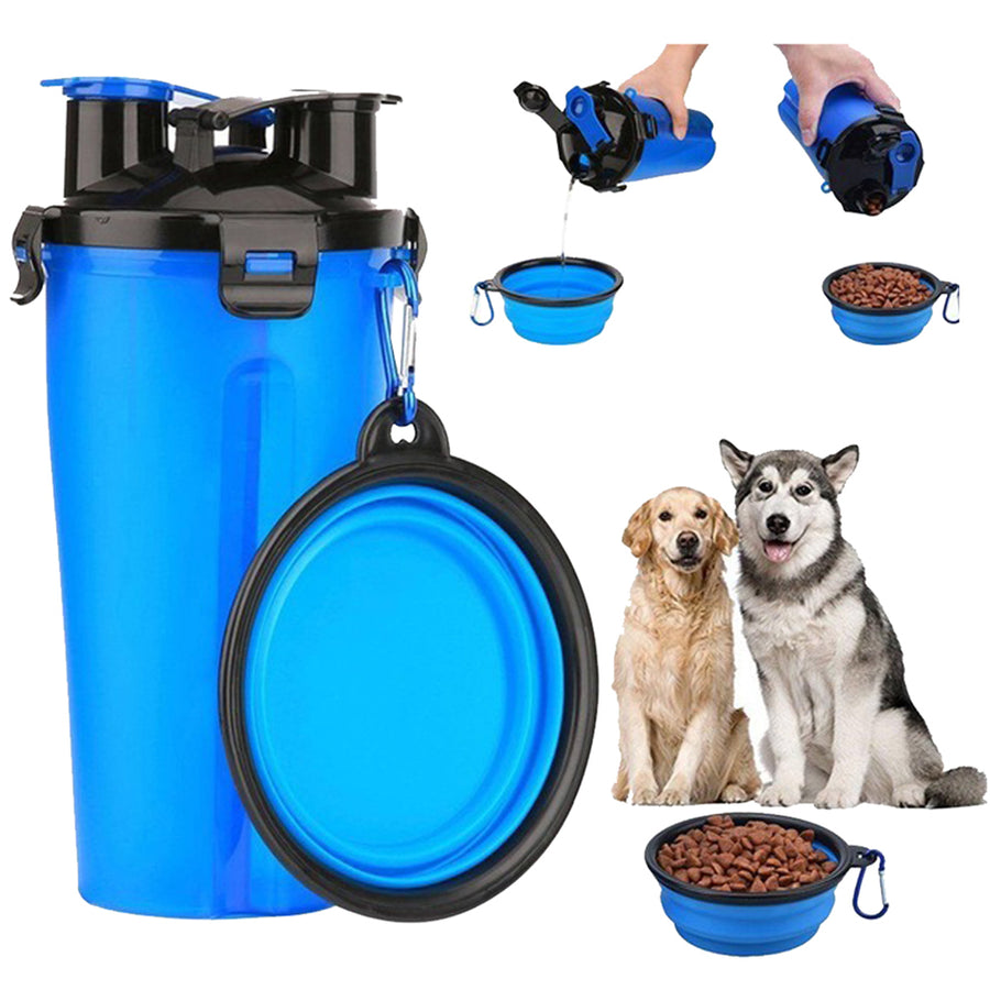 dog water bottle with collapsible bowl blue holding dog food and water