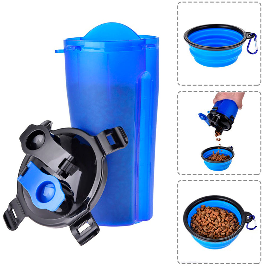 design of dog water bottle with collapsible bowl