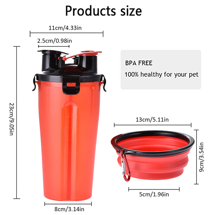 size of dog water bottle with collapsible bowl