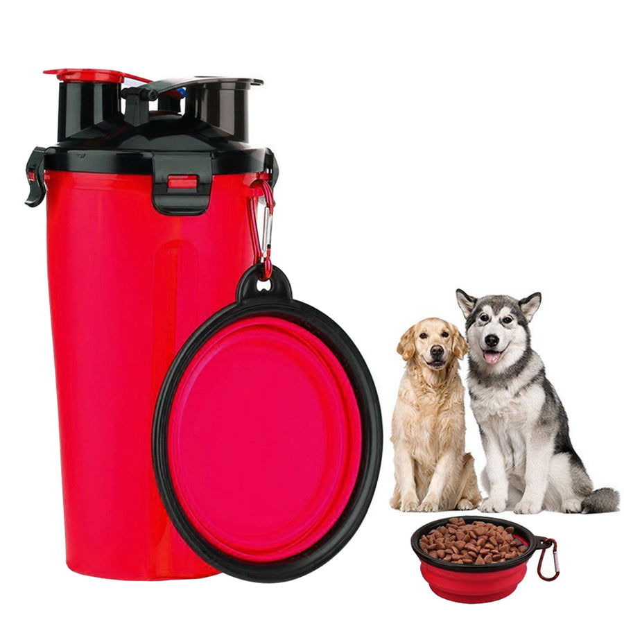 Qbleev dog water bottle with collapsible bowl red