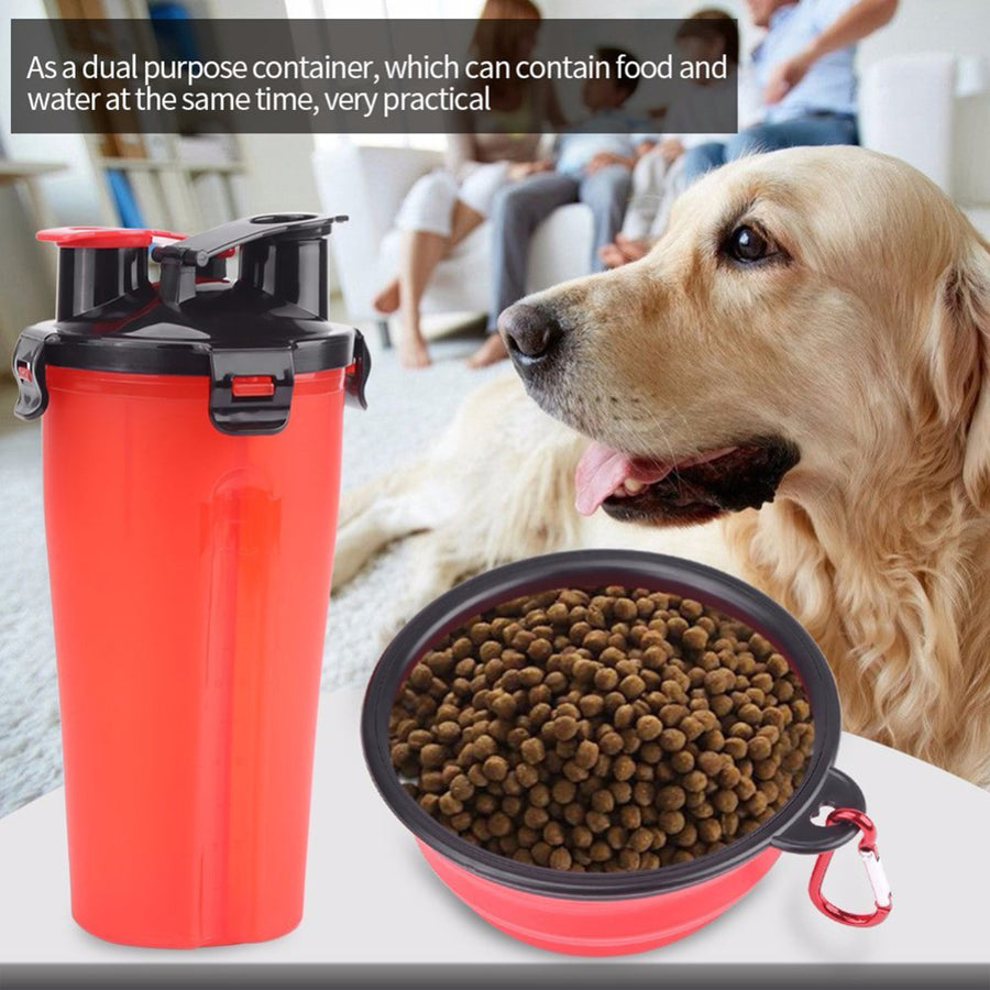 Qbleev dog water bottle with collapsible bowl holding dog food and water