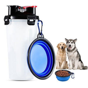 Qbleev dog water bottle with collapsible bowl white