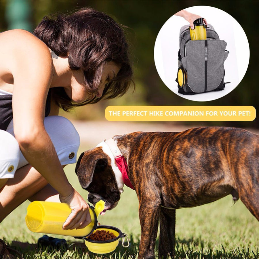 put Qbleev dog water bottle with collapsible bowl into backpack