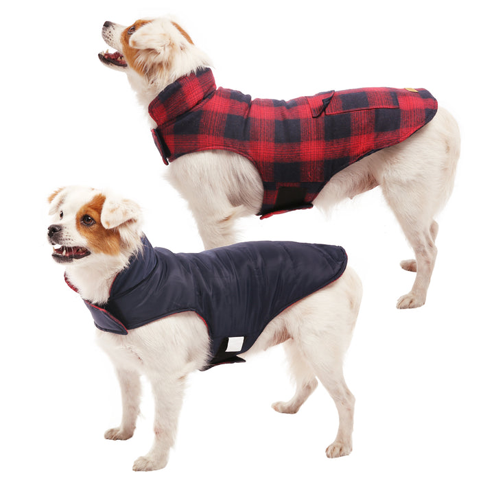 Reversible & Plaid Dog  Coat, Red