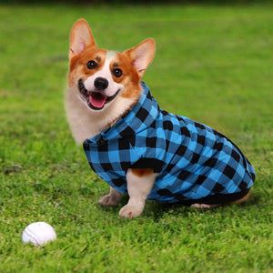 Cold Weather Dog Coat Hooded Plaid Puppy Jacket Apparel-QBLEEV
