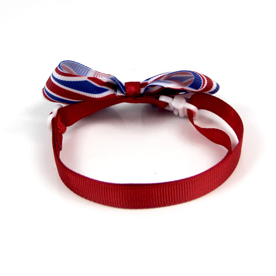 American Flag Bow Tie Ribbon Dog Collar Red