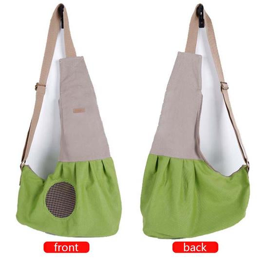 left and right sides of Qbleev adjustable dog sling green with pockets and ventilation mesh