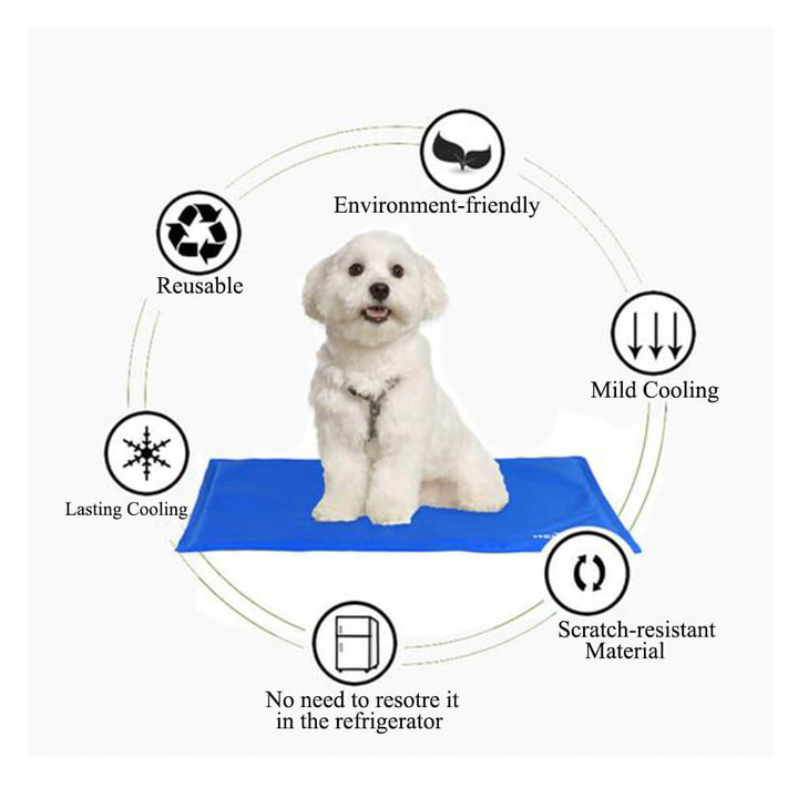multi benefits of Qbleev dog cooling mats blue with a dog onlying on it - Qbleev.com