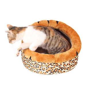 Pet Dog Sleeping Bed Puppy Cat Kennel Sleeping Cozy Pad Leopard Design