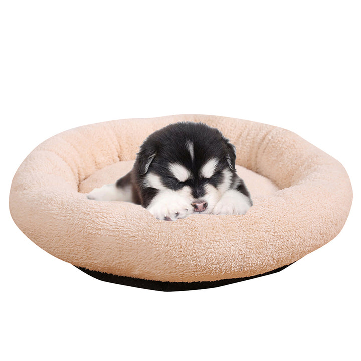 round dog bed QBLLEV with a dog on