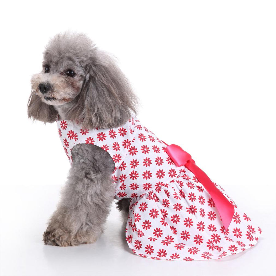 red flower Floral Dog Dress weard on a dog QBLEEV
