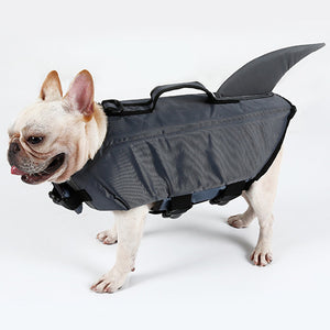 a dog wearing dog life jacket shark grey with reflective stripes & adjustable belt