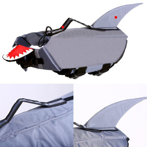 dog life jacket shark grey with reflective stripes & adjustable belt