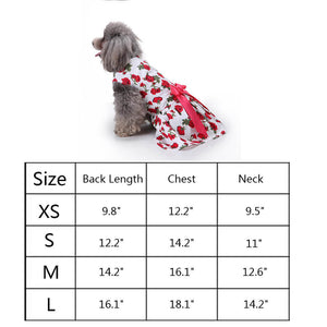 size of  Floral Dog Dress QBLEEV