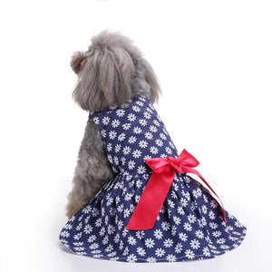 white flower printed Floral Dog Dress on a dog QBLEEV