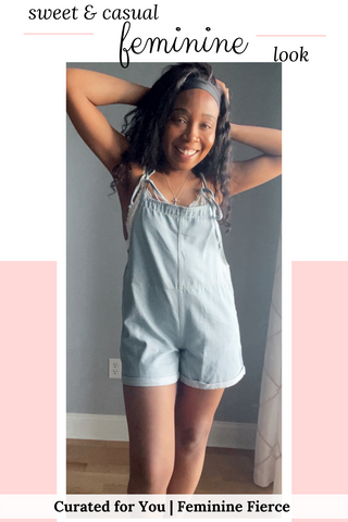 cute outfits with overalls shorts | lace bralette and blue cotton overalls