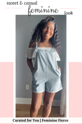 cute outfits with overalls shorts | black girl in an off-shoulder top with ruffle short sleeves