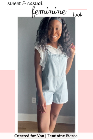 cute outfits with overalls shorts | ruffle sleeve top and blue cotton overalls shorts