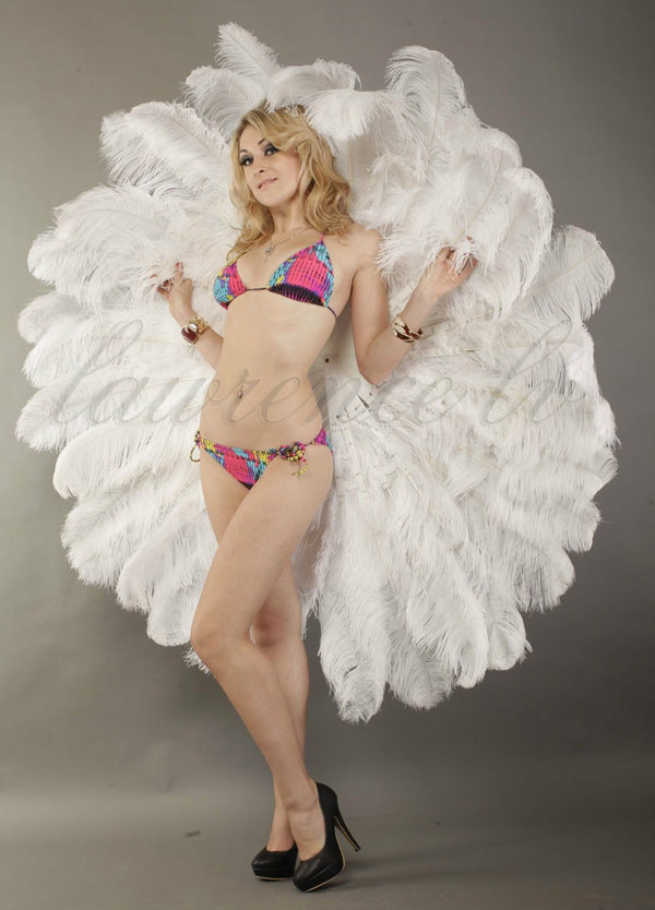 White Tribute 360 degree ostrich feather Backpiece - hotfans