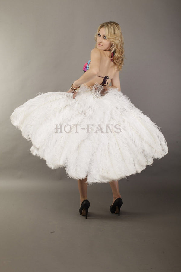 White 3 Layers Ostrich Feather Fan Opened 65