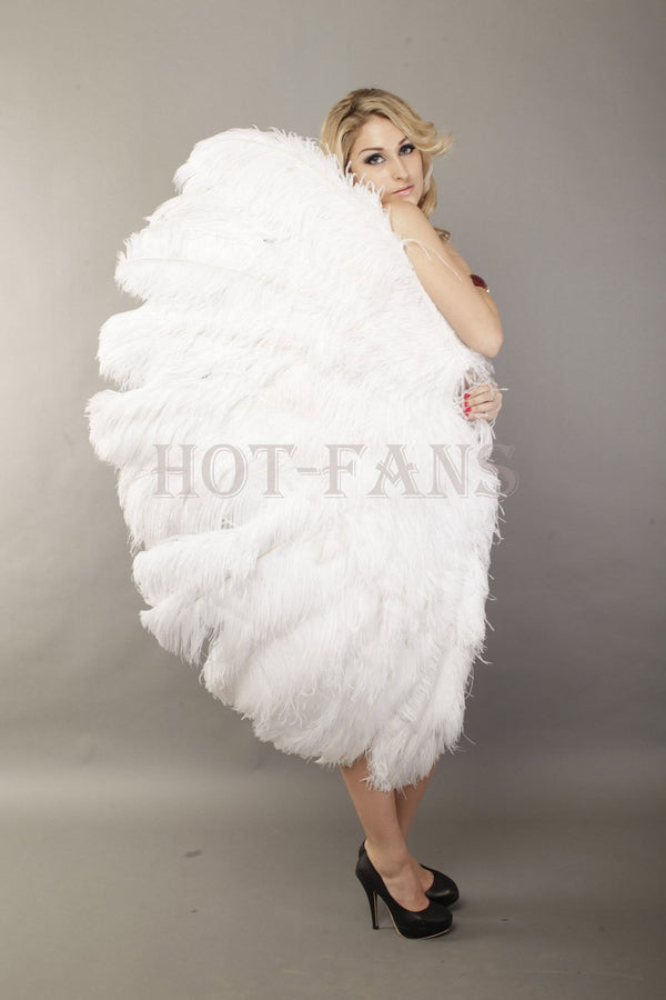 "White 3 Layers Ostrich Feather Fan Opened 65"" with Travel leather Bag - hotfans"