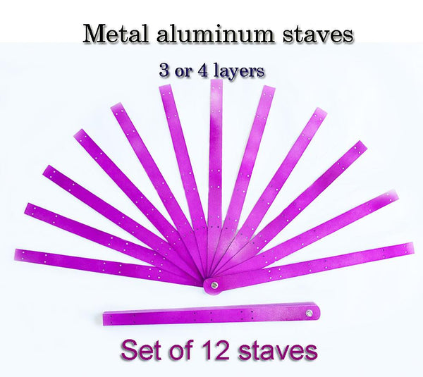 Metal aluminum stave Set of 12 triple layers fan staves & Hardware Assembly Kit - hotfans