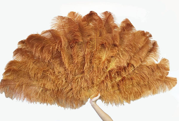 Topaz 3 Layers Ostrich Feather Fan Opened 65