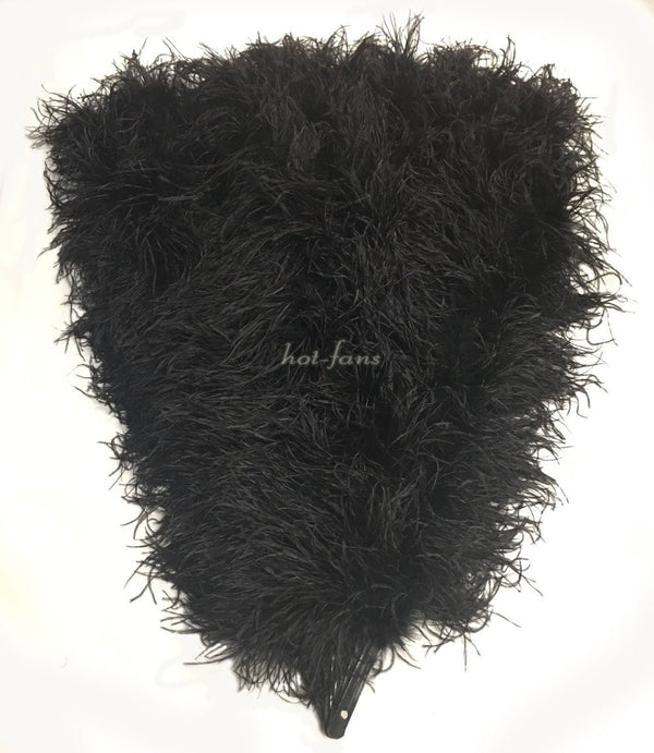 Burlesque Fluffy black Waterfall Abanico Plumas de avestruz Boa Fan 42