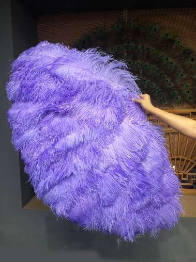 Aqua violet 3 Layers Ostrich Feather Fan Opened 65