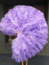 "Aqua violet 3 Layers Ostrich Feather Fan Opened 65"" with Travel leather Bag"